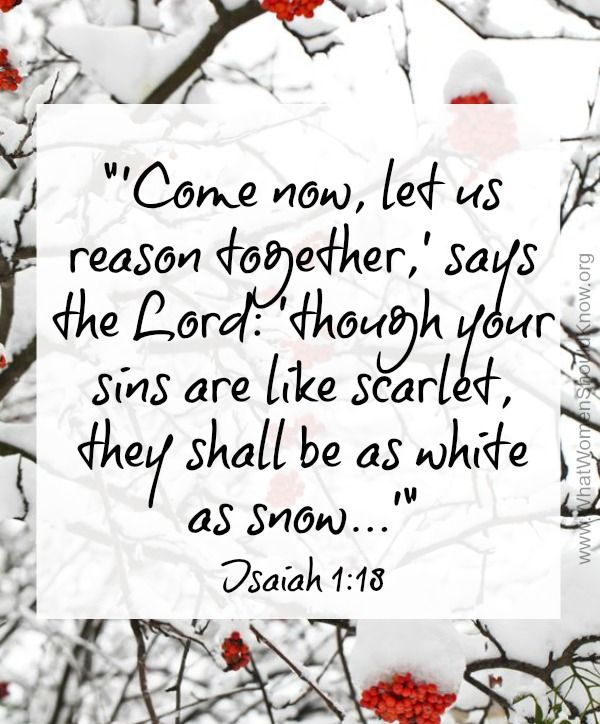 Come now, and let us reason together, says the LORD: though your sins are like scarlet, they shall be as white as snow ~ Isaiah 1:18
