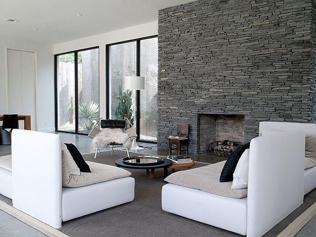 #livingroomModern Interiors Design, Living Rooms, Hills Design, Modern Stones Fireplaces, Stones Wall, Barbara Hills, Stone Walls, Fireplaces Wall, Stone Fireplaces