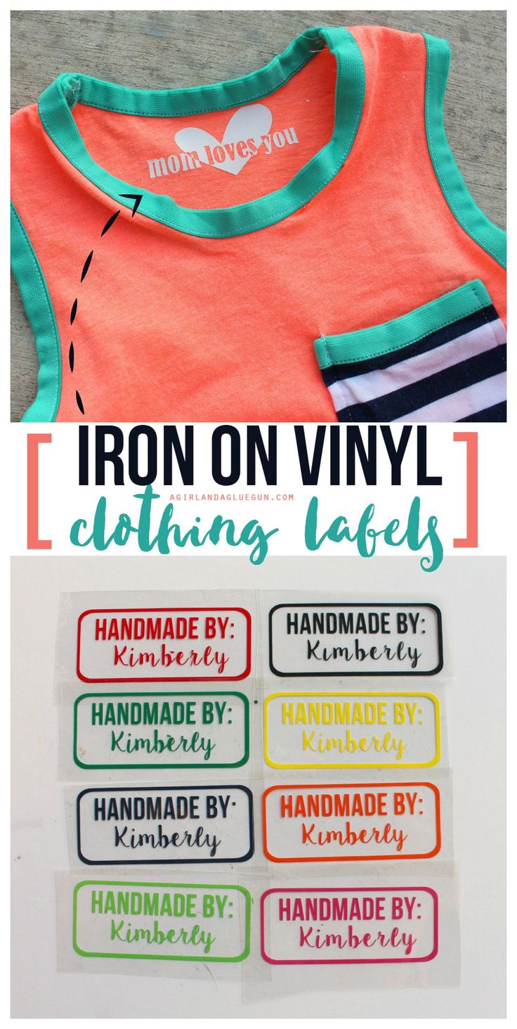 easy clothing labels made with iron on heat transfer vinyl a girl and a glue gun