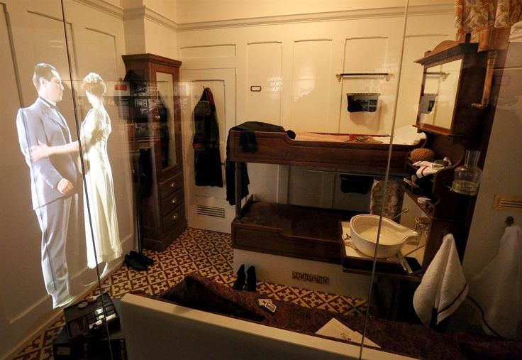 Second-class cabin:  A video projection of passengers in a re-creation of a second-class cabin is displayed at Titanic Belfast.