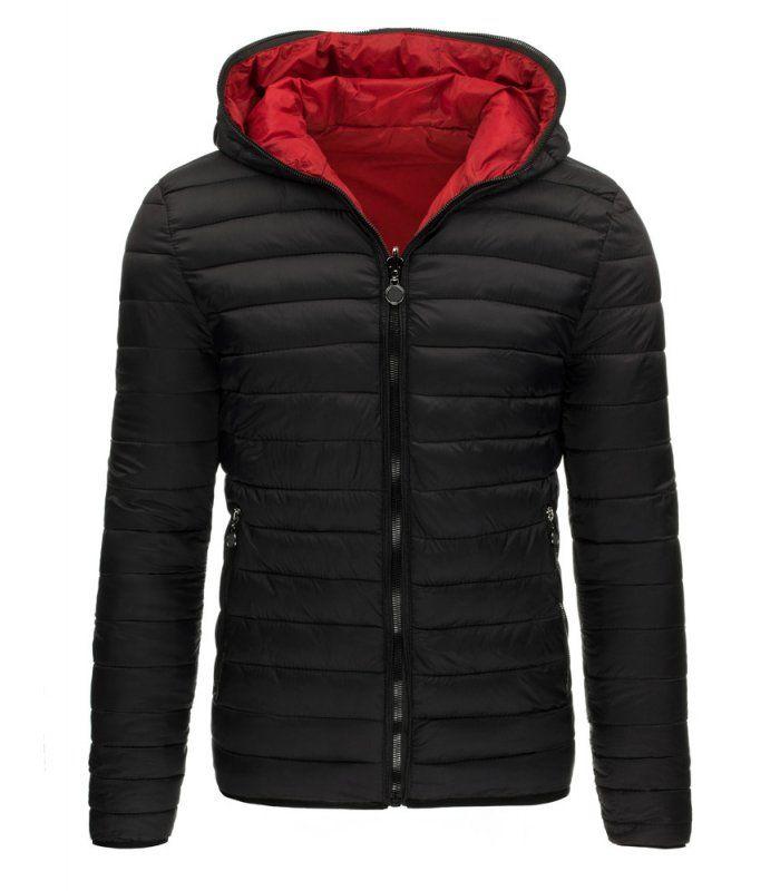 Čierna obojstranná, zimná bunda s kapucňou. Zapínanie na lesklý zips. Kapucňa so zapínaním do konca. Dve vonkajšie vrecká po stranach. Pohodlný strih. Vhodné ako neformálne oblečenie.