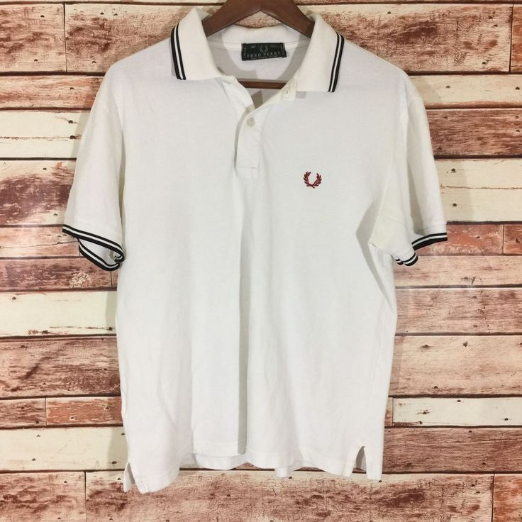 "Fred Perry Men's Polo Shirt White Size 40"" M? Made In Italy Red White Blue #FredPerry #PoloRugby"