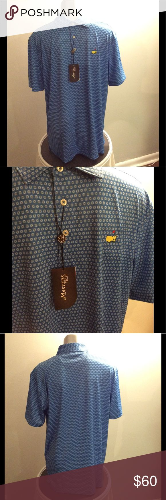 PGA Masters Tech Men's Patterned Casual Golf Polo *Measured flat* Across shoulders: 19in. Sleeve length: 10in top to bottom hem(back): 30in PGA Masters Tech Shirts Polos
