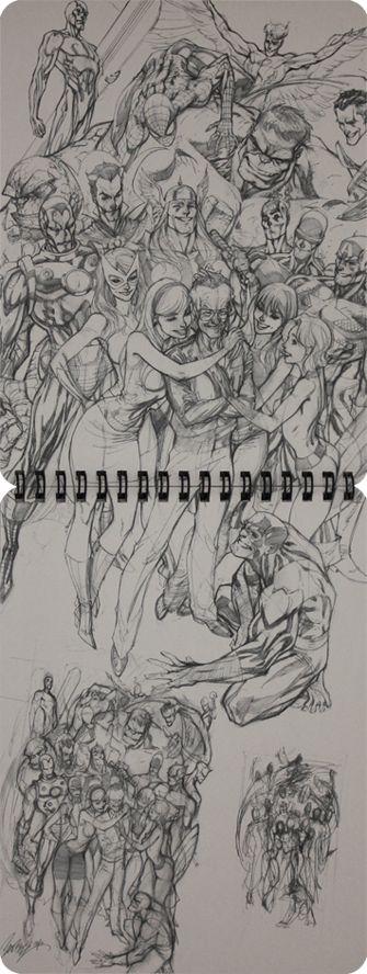 Sketch. J. Scott Campbell, artista estadounidense de cómics.