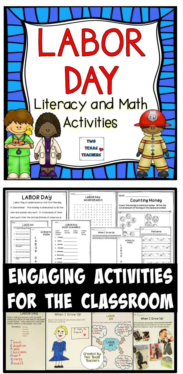 Classroom Activities Elementary ~ Labor day activities student and