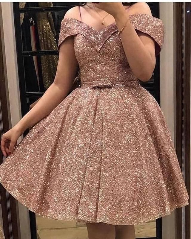 Rose Gold Off The Shoulder Short Prom Dresses Puffy Gold Dress Short Prom Dresses Short Rose Gold Dress Short