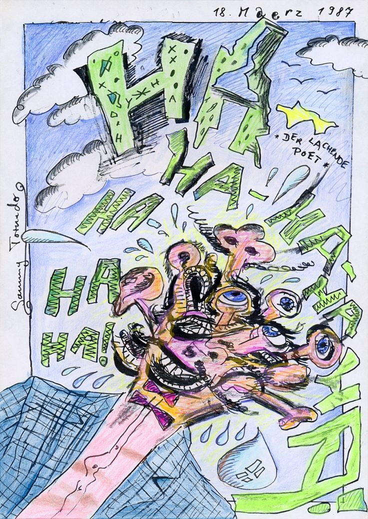 Der lachende Poet (The Laughing Poet), 1987 by Sammy Tornado - Junge Wilde / Punk art / Kunst der 80er