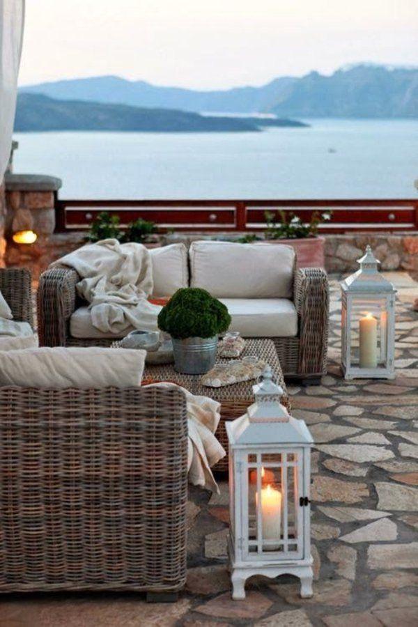 Beautiful lake view wicker seating area