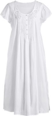 Lace Trimmed Cotton Nightgown with Pockets | Short Sleeve (1X)