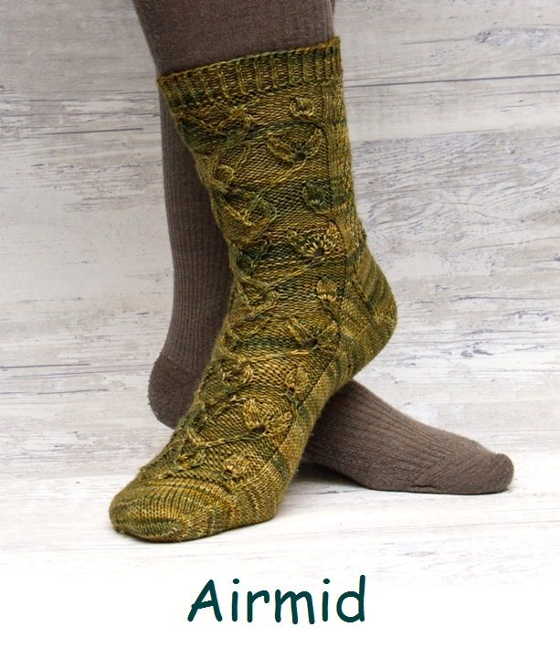 Airmid. A sock design featuring the twists of a herbal plant.
