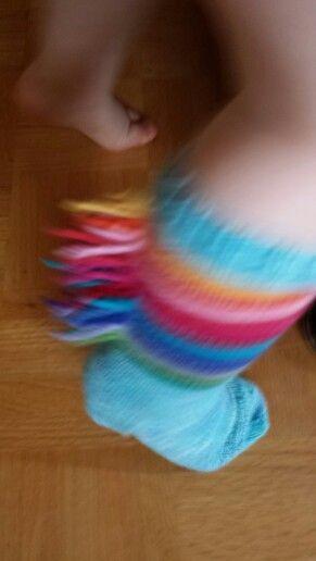 rainbow dash socks from scrap yarn