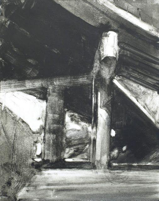 Frank Hobbs: Overpass, monotype, 11 x 9 in.