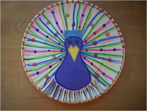 Paper plate peacock #India