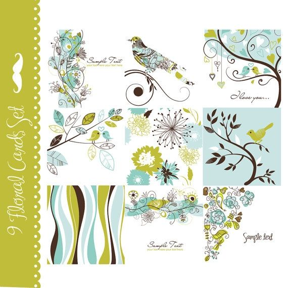 9 Floral and Bird Cards - Luvly Marketplace   Premium Design Resources #cards #digitalcards