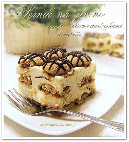 szybki sernik na zimno z ajerkoniakiem i ciasteczkami amaretti