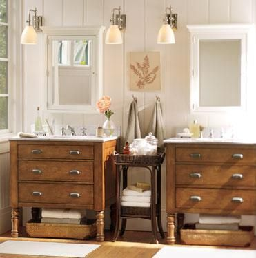 Farmhouse Bathroom-- love the idea of using an antique dresser as a cabinet and adding a sink bowl to the top. Would that be such a great first floor powder room or what?!