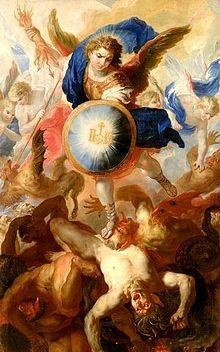 """Erzengel Michael – """"Höllensturz"""" (1697) - Altarbild in Tittmoning von Johann Michael Rottmayr (getauft 11. Dezember 1654 in Laufen an der Salzach; † 25. Oktober 1730 in Wien)"""
