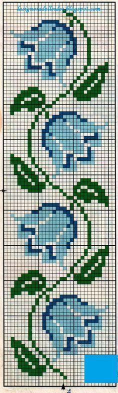 Risultati immagini per cross stitch free blue flowers