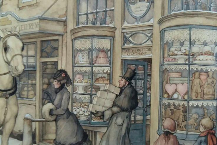 Een detail uit een prent van Anton Pieck. In de etalage zien we diverse Sinterklaas lekkernijen. .. speculaaspoppen / figuren, liefdesharten ....