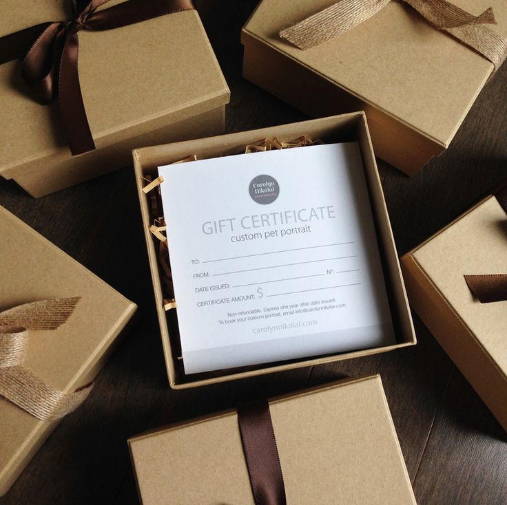 Beautifully Packaged Gift Certificates.