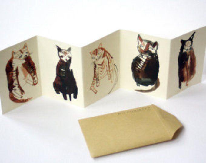 Libro de gato mini zine concertina || CINCO GATOS CURIOSOS