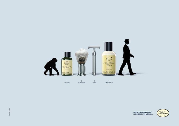 """Case: Evolution 男性用シェービングブランド・The Art of Shavingが、アメリカで実施したプリントキャンペーン。  毎朝のひげそり、すなわち""""男の嗜みがどういうことか"""