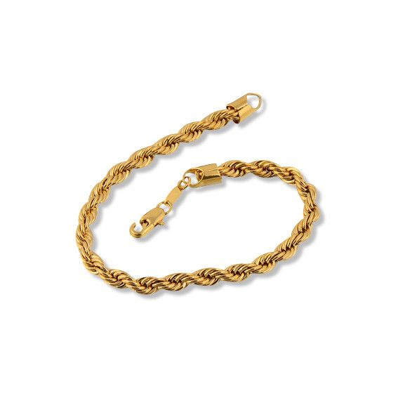 Yellow 24K Gold Rope Chain Bracelet