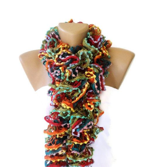 Knit Ruffled Scarfmulticolor scarf2013 NEW TREND by seno on Etsy, $25.00