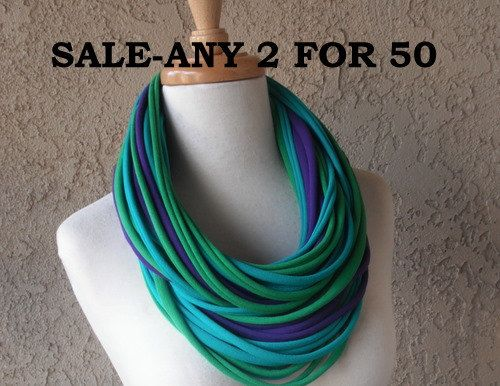 SALE  2 For 50  Deluxe Jersey Scarf Necklace by sandeeknits, $50.00