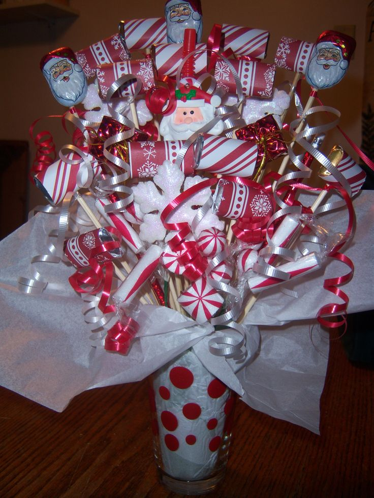 Christmas white red candy bouquets pinterest