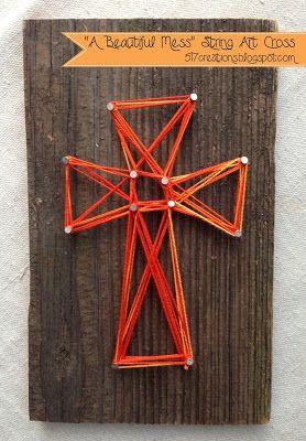 "517 creations: ""a beautiful mess"" string art cross…Cross craft with cross template"