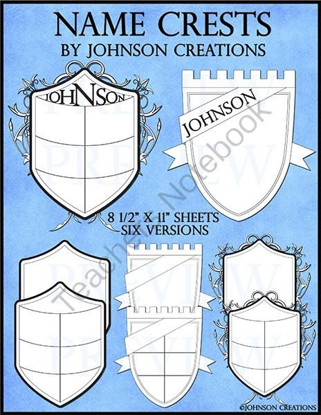 Name Crests from Johnson Creations on TeachersNotebook.com - (8 pages) - These crests are a great �Getting to Know You� activity for the beginning of the year. They also make an attractive bulletin board for �Back to School� nights and Open Houses. The crests can be a homework assignment and/or put together into a class book.