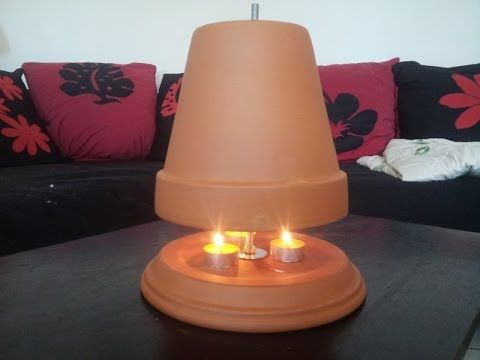 Chauffage d'appoint avec des réchauffe plat.  peut faire lampe de jardin - YouTube