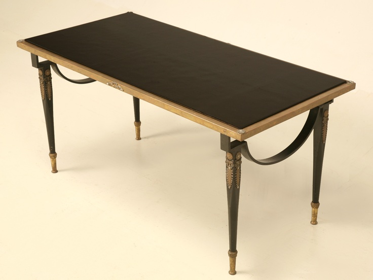 Vintage French Forties Brass and Black Glass Coffee Table