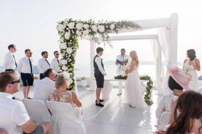 Classic, White & Gold Wedding at Dana Villas, Santorini by Phosart Photography & Cinematography