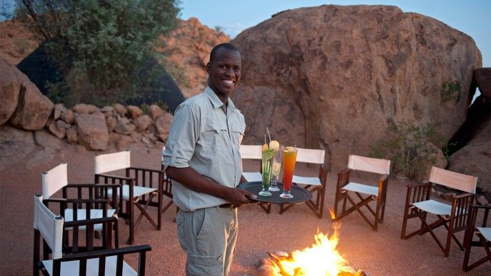 Campfire dining at Mowani Mountain Camp -- Namibia