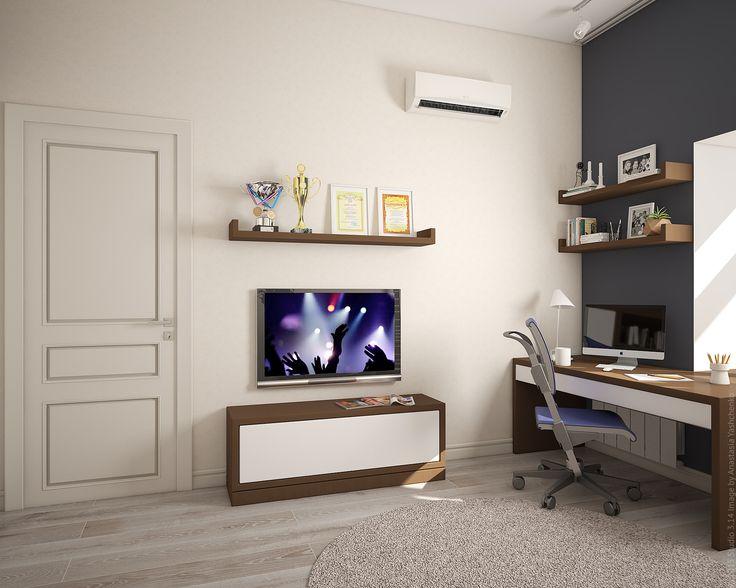 Рабочий стол, тумба под ТВ и настенные полки выполнены в едином графичном стиле.