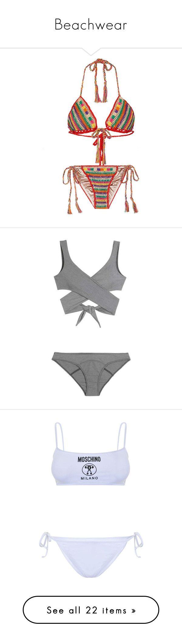 """Beachwear"" by hannahmarie73 ❤ liked on Polyvore featuring swimwear, bikinis, swimsuit, swimsuits bikinis, crochet swimsuit, strappy swimsuit, bikini swimsuit, triangle bikini swimwear, grey and lisa marie fernandez"