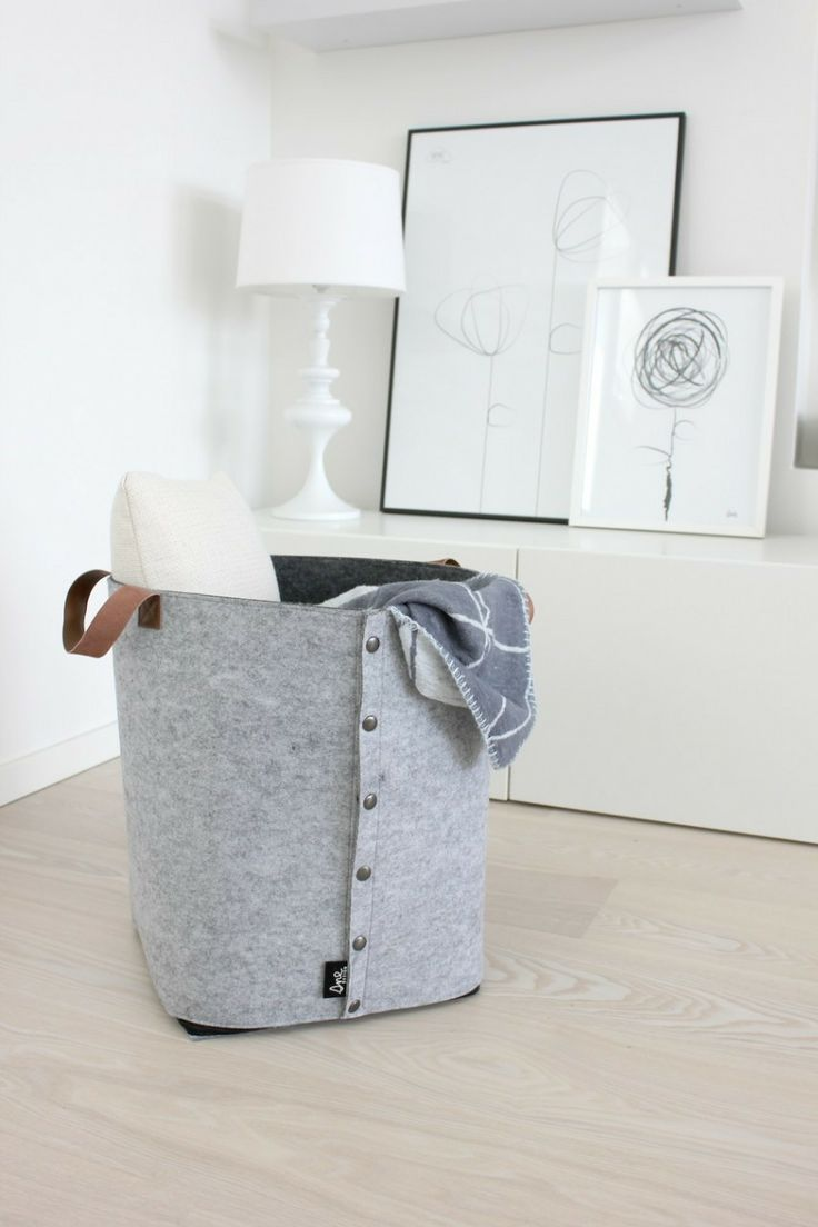 Norsu - Sne Design grey felt storage box with leather straps, $130.00 (http://www.norsu.com.au/sne-design-grey-felt-storage-box-with-leather-straps/)