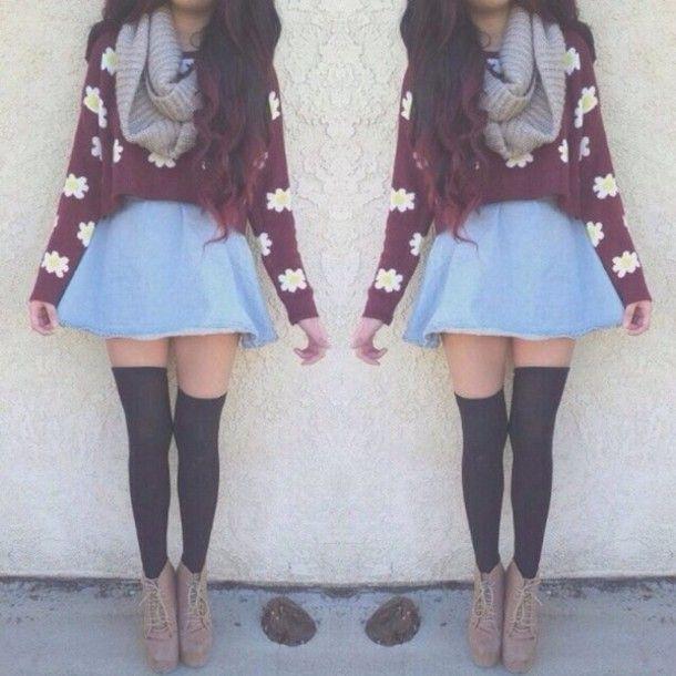 Sweater: skirt, underwear, shirt, scarf, floral, hipster, knee ...