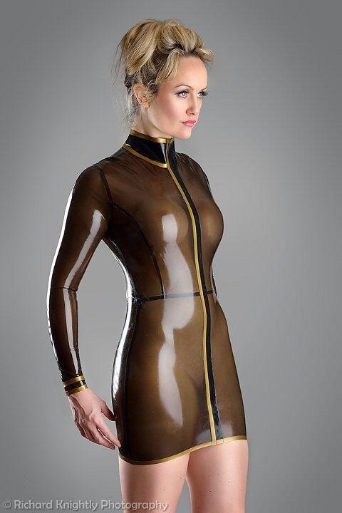 Translucent latex dress
