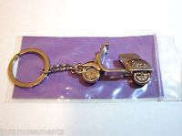Vespa Motor Scooter Keychain/Ring-Silver Chrome Metal Bike/Cycle-Gift Free S/H