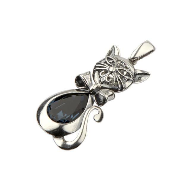 Srebrny wisiorek z kryształem Swarovskiego KOT W 1184