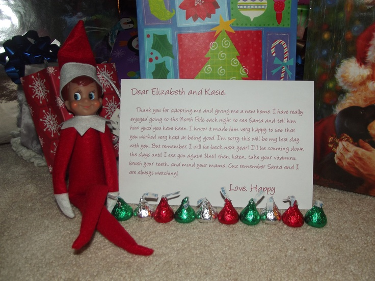 Our elf on the shelf happy wrote his goodbye letter to the girls