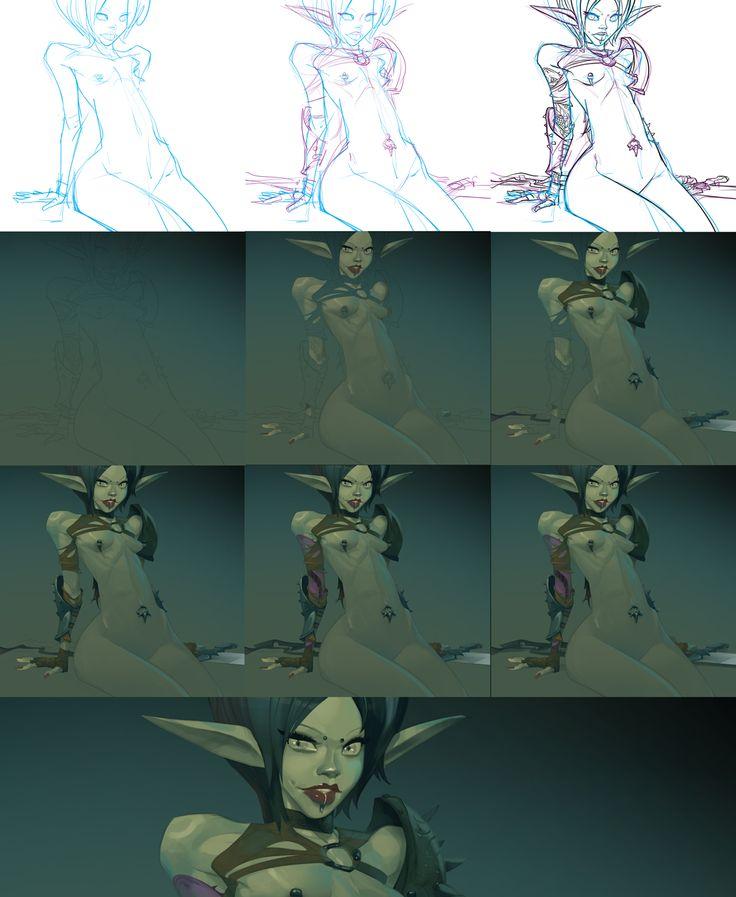 Digital art process by Otto Schmidt process for young elf warrior.    http://schmidteugenart.blogspot.com/