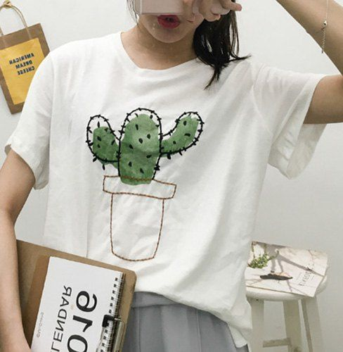 Stylish Cactus Pattern Short Sleeve Round Neck T-Shirt For Women