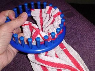 running stitch for a towel topper on a loom