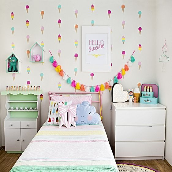 Sweeten their style with the vintage-chic looks of the colourful and removable Ice Cream Wall Decal from forwalls.
