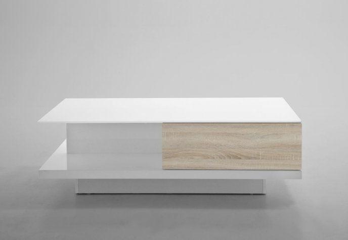 Biały stolik kawowy z jedną dębową szufladą. 0000049303 - Sanit-Express™