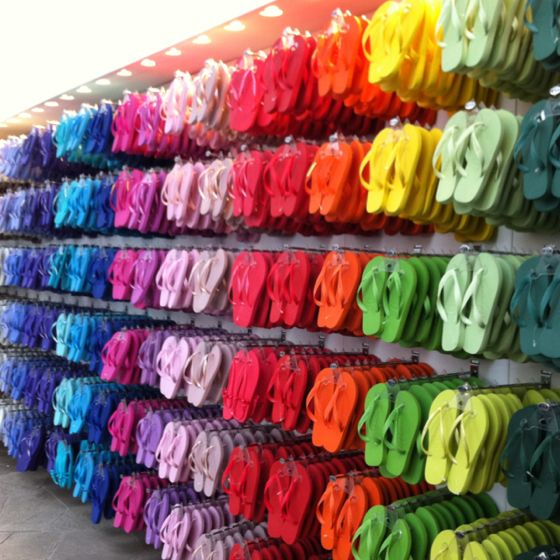 Havaianas Store, Rio de Janeiro. Oh my goodness; I could use some of these wonderful colors to match my summer wardrobe.